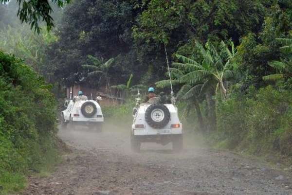 Malawi UN soldiers patrol outside Bunagana in DR Congo, close to the Uganda border, on October 31, 2013.  By Junior D. Kannah (AFP/File)