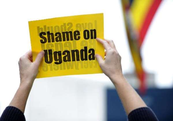 A protest against an anti-homosexuality bill in Uganda on November 19, 2009 in front of the Ugandan Mission to the United Nations in New York.  By Stan Honda (AFP/File)