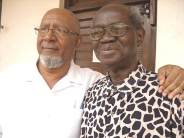 Anis Haffar (Left), the author and his subject, Prof Kwabena Nketia
