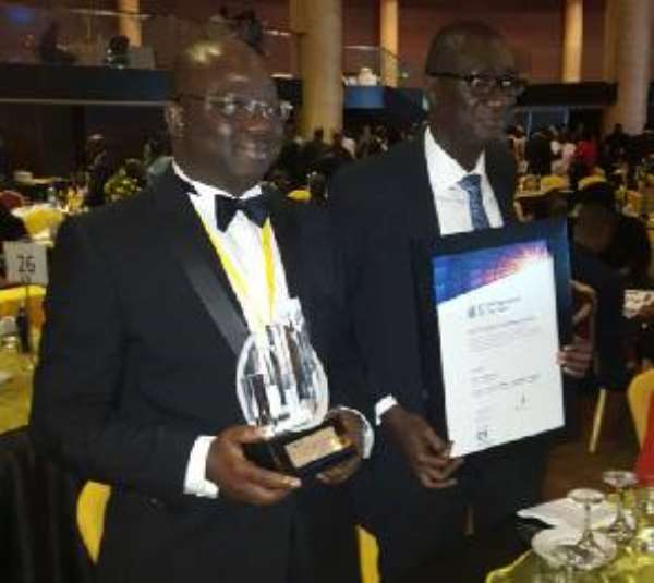 Founder and Managing Director of Kinapharma and Healthilife, Mr Kofi Nsiah-Poku (L) beat four other Nigerians in the Emerging Enterpreneur Category. With him is Mr Nuamah Fameyeh.