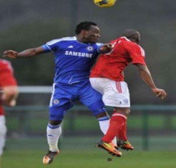 Essien hustling for a ball in the game on Monday