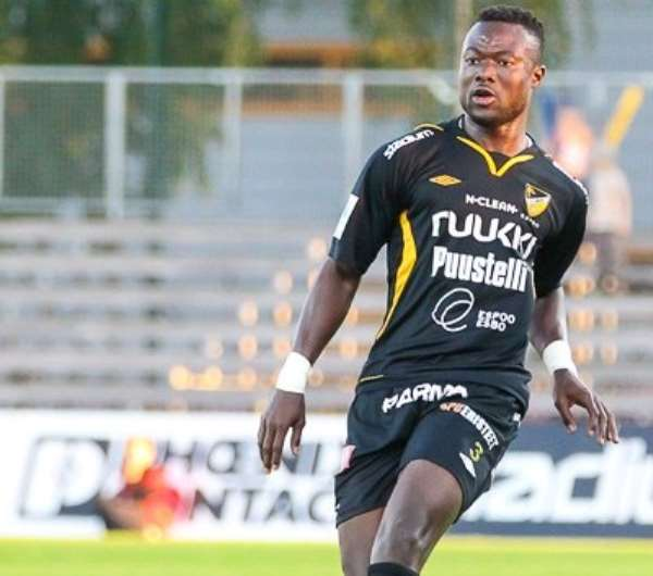Gideon Baah in action for FC Honka in Finland