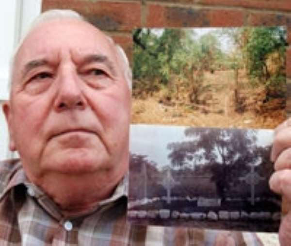 Bert Taylor with a picture of the graveyard where his parents are buried as it is now (top) and in 1931 (bottom). (2387b64)