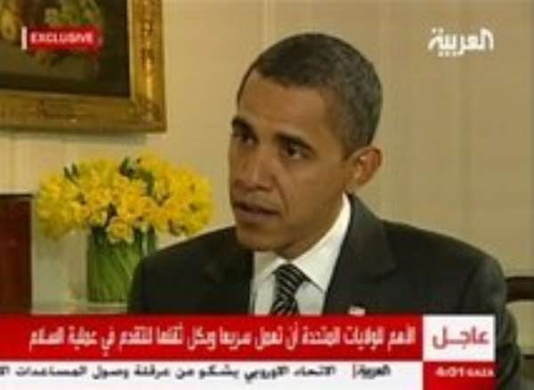 AP – In an image made from a video provided by Al-Arabiya, President Barack Obama is interviewed in Washington