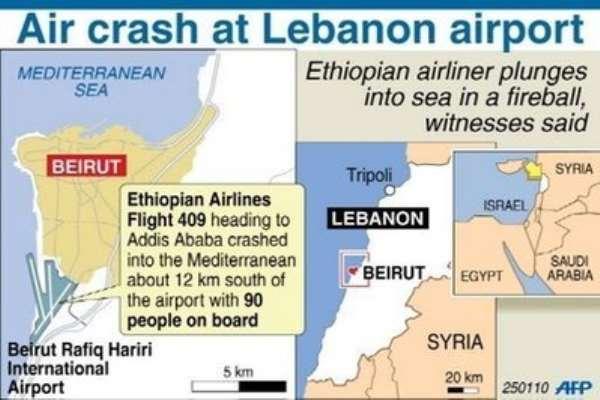 Ethiopian jet crashes off Beirut
