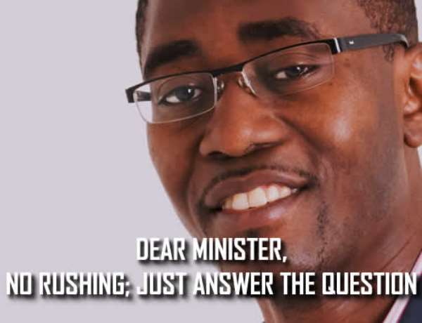 DEAR MINISTER, NO RUSHING; JUST ANSWER THE QUESTION By Marricke Kofi Gane