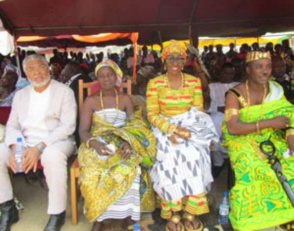 Nana Konadu Agyeman-Rawlings (2nd right) and her husband at the function with the chief and queenmother of Dokrochiwa.