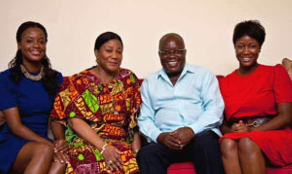 Nana Akufo Addo and wife, Becky with thier two daughters