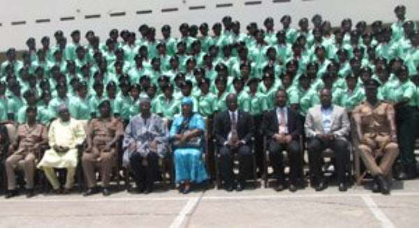 The paramedics in a group photograph with dignitaries