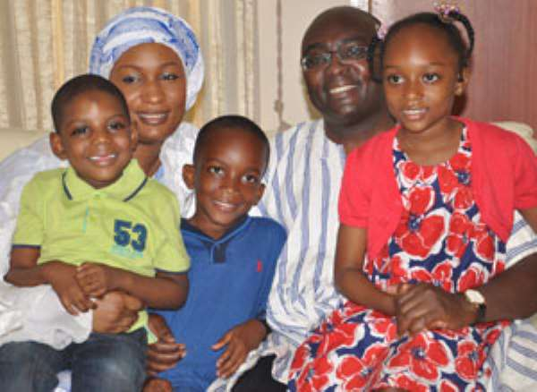 2012 Vice Presidential candidate, Dr Mahamudu Bawumia and his young family after yesterday's announcement
