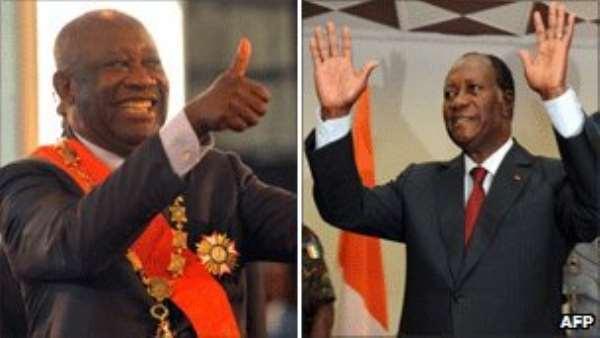 Laurent Gbagbo (left), Alassane Ouattara (right)