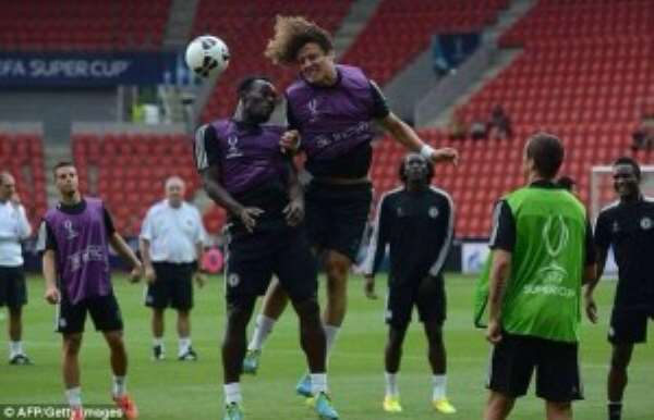 Michael Essien in training in Prague ahead of the Super Cup match