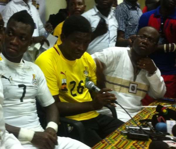 Maxwell Konadu at the post-match press conference