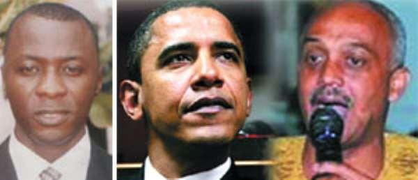 Mohammed Amin Anta Adam (LEFT), Mr. Barack Obama (MIDDLE), Sidney Casely-Hayford (RIGHT)