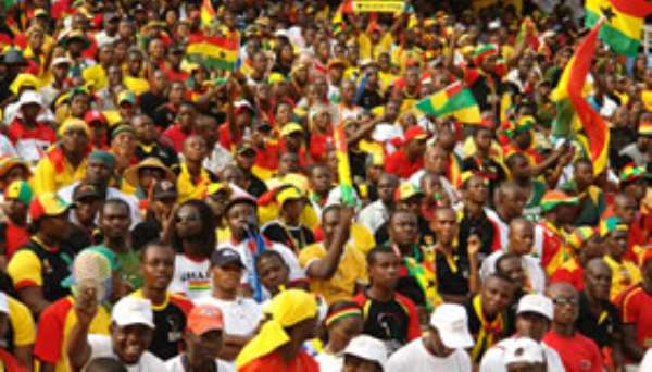Ghanaian football fans at a football match