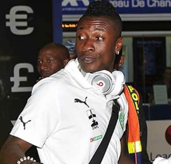 Ghana captain Asamoah Gyan arrived on Saturday morning