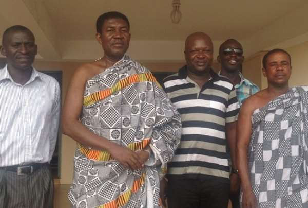 Mickey Charles meeting with the Omanhene of Techiman to inform him of the capture of BA Stars
