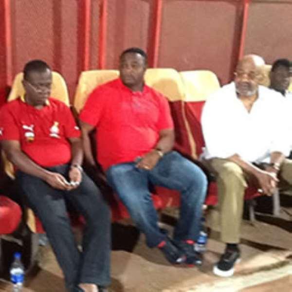 H.E Said Sinare with Ghana FA boss Kwesi Nyantakyi and Sports Minister Elvis Afriyie Ankrah