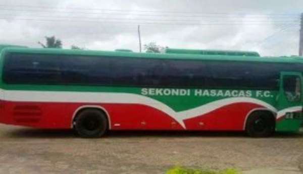 Shameful: Bus-less Aduana Stars transport players in Hasaacas bus