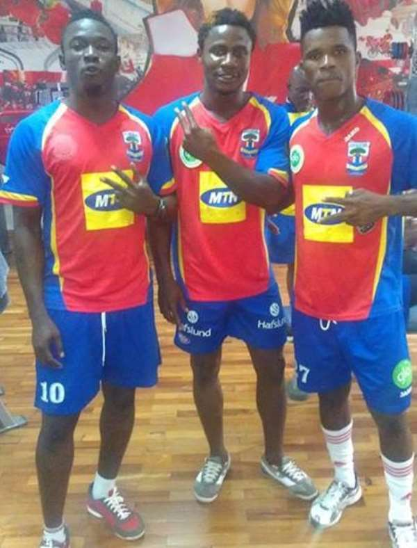 Hearts intensify gym work at pre-season, Goalkeeper Tetteh Luggard, Nuru Suley and Rubin Gnagne. Photograph: <strong>JOHNSON EYIAH</strong>