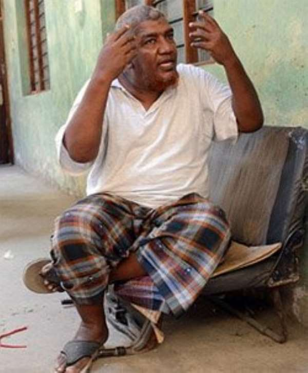 Makaburi, whose real name is Abubaker Shariff Ahmed, at his residence in Majenga,Mombasa