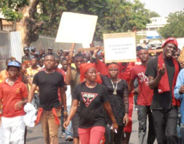 CPP members on demonstrating
