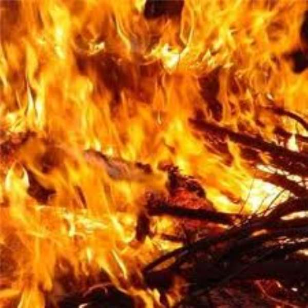 Fire guts a house in Sunyani