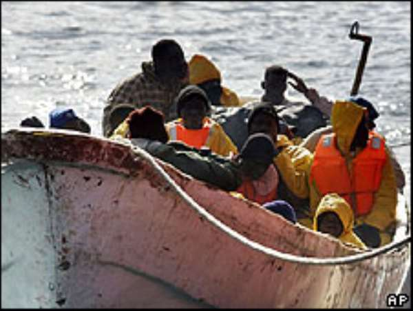 Some travelers cross the Mediterranean Sea by small fishing boats to Spain.