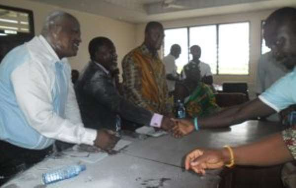 Theophilus Aidoo-Mensah being congratulated after his endorsement