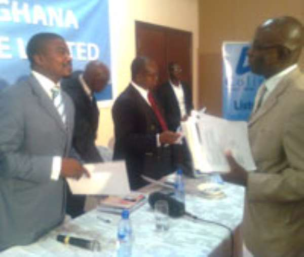 Mel Kebe,(L)Executive Director of Colina Ghana in an interaction at a press breifing yesterday
