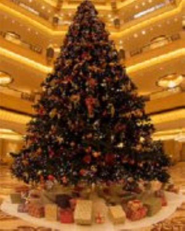 The 13-metre high, diamond-decorated tree has 131 different jewellery pieces, including gold and precious stones.