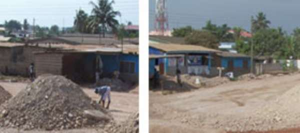 Some individuals picking stones for road construction works for their own purposes at Mallam junction. Pix by Eric Owiredu (left), A man busy breaking construction stones under a shed with for sale signboard on a heap. Pix by Eric Owiredu (right)