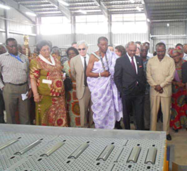 Hanna Tetteh, Kwesi Ahwoi & other dignitaires inpecting the equipments