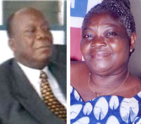 Mr. Harouna Esseku, a former NPP National Chairman (left), Mrs. Agnes Okudzeto, National Officer in charge of the Central Region (right)