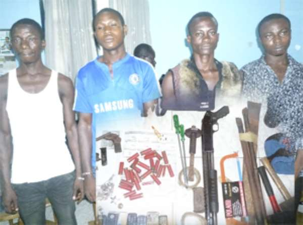 The suspected robbers. INSET: Items retrieved from them