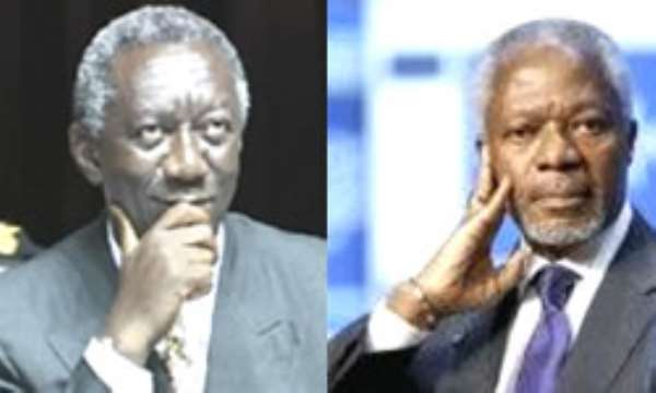 President Kufuor and Mr Annan *Pays tribute to Kofi Annan and promises him a heroe`s welcome... *Praises Ghana`s media for being vibrant watchdog