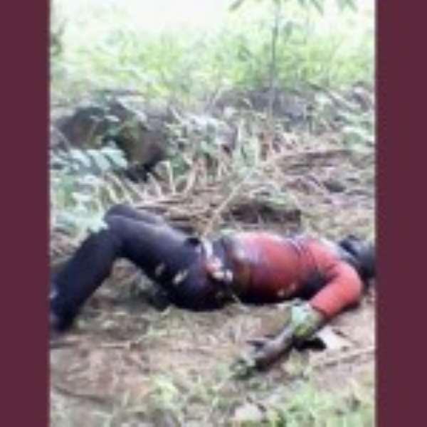 Kwadwo Ankrah's bloated body lying in the farm