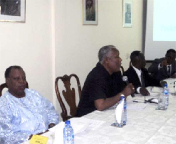 Dignitaries at the IEA forum (L to R): Nana Dr. SKB Asante, ET Mensah, Dr. JK Kwakye and Dr. Kwadwo Tutu (main speaker)