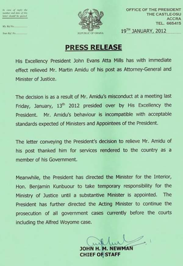 Press release: Castle confirms Martin Amidu's dismissal