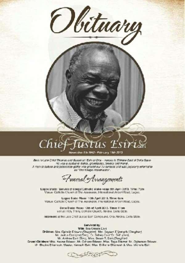 Late Justus Esiri's Obituary Released [Picture]