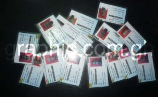 Emmanuel Archibald Laryea registered 15 times using different names and was issued with these15 voter cards.