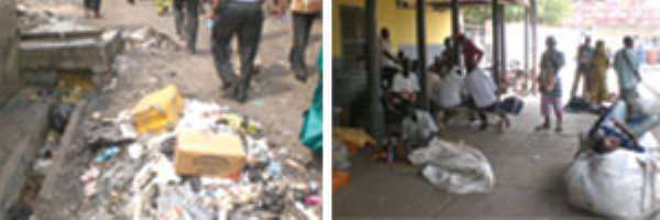 Rubbish on the ground inside the railway station (left), Traders also have taken over parts of the Accra Railway Station (right)