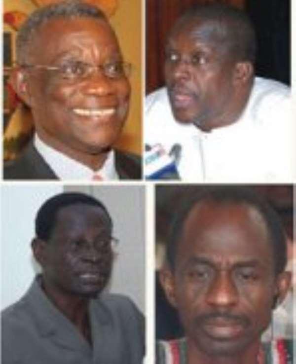 Top : President Mills &  Alban Bagbin — Majority Leader.  Down : Dr Kwabena Adjei — Chairman & Asiedu Nketia — General Secretary.