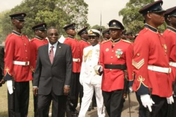 Presient Mills Inspecting the guard of honor