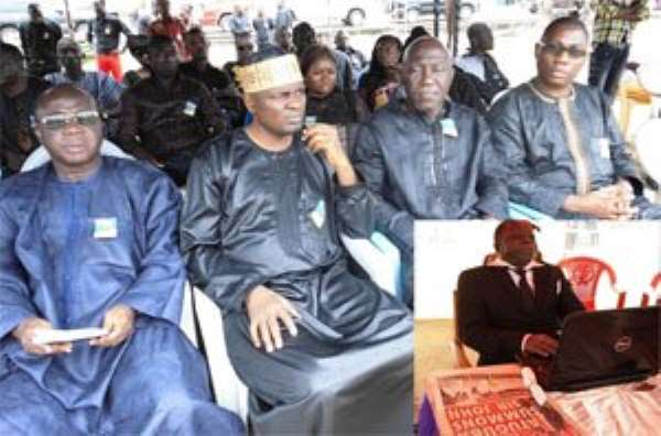 DAILY GUIDE delegation at the funeral Freddie Blay, Rashid Bawa and Fortune Alimi. INSET: The late Sam Mark Essien, laid in state