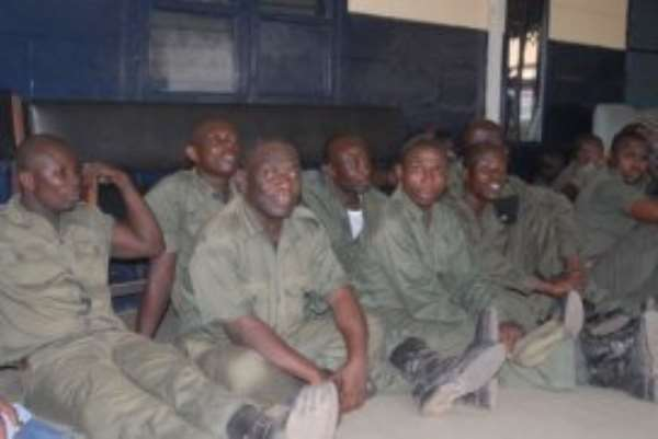 Some security guards of the Ghana Atomic Commission who were arrested by the police