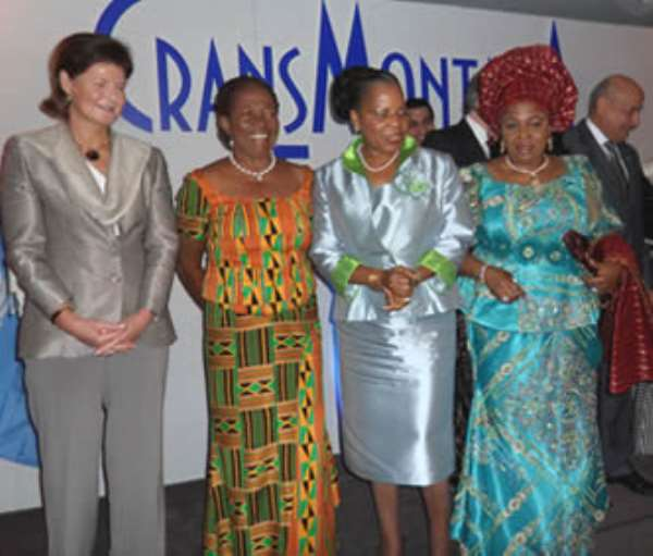 Mrs. Naadu Mills and some of the First Ladies at the Crans Montana Forum