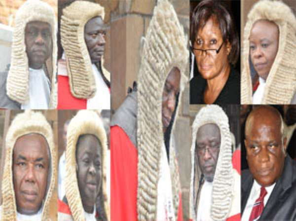 From top left: Justice Annin-Yeboah, Justice Julius Ansah, Justice Vida Akoto-Bamfo, Justice Sophia O. Adinyira.Down Left: Victor Jones Dotse, Justice Rose C. Owusu, Justice Baffoe Bonnie, Justice Nasiru Sulemana Gbadegbe.Middle: Justice William Atuguba