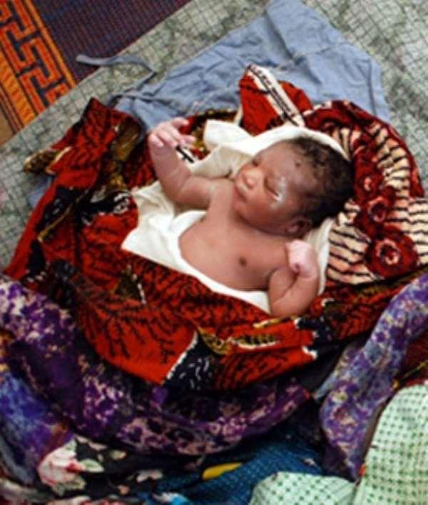 A two week old abandoned baby at Winkongo, near Bolgatanga