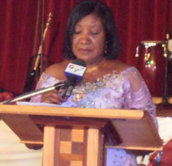 Mrs. Mitchell delivering her speech during the launch